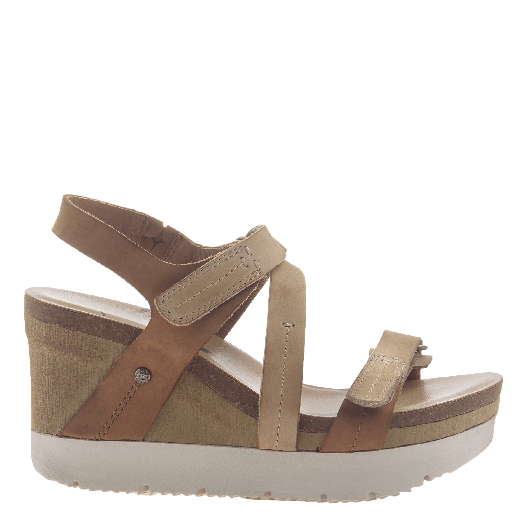 e04e064913b Womens wedge sandals wavey in Mid Brown side view
