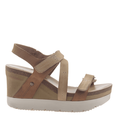 Womens wedge sandals wavey in Mid Brown side view