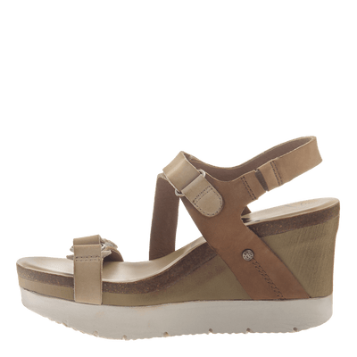 Womens wedge sandals wavey in Mid Brown inside view
