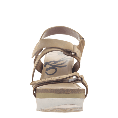 Womens wedge sandals wavey in Mid Brown front view