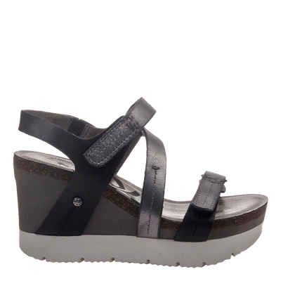 Womens wedge sandals Wavey in new black side