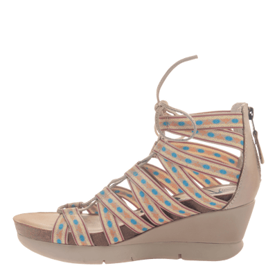 Womens lace up wedge sandal Way Out in Mid taupe inside view