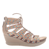 Womens lace up wedge sandal Way Out in Mid taupe side view