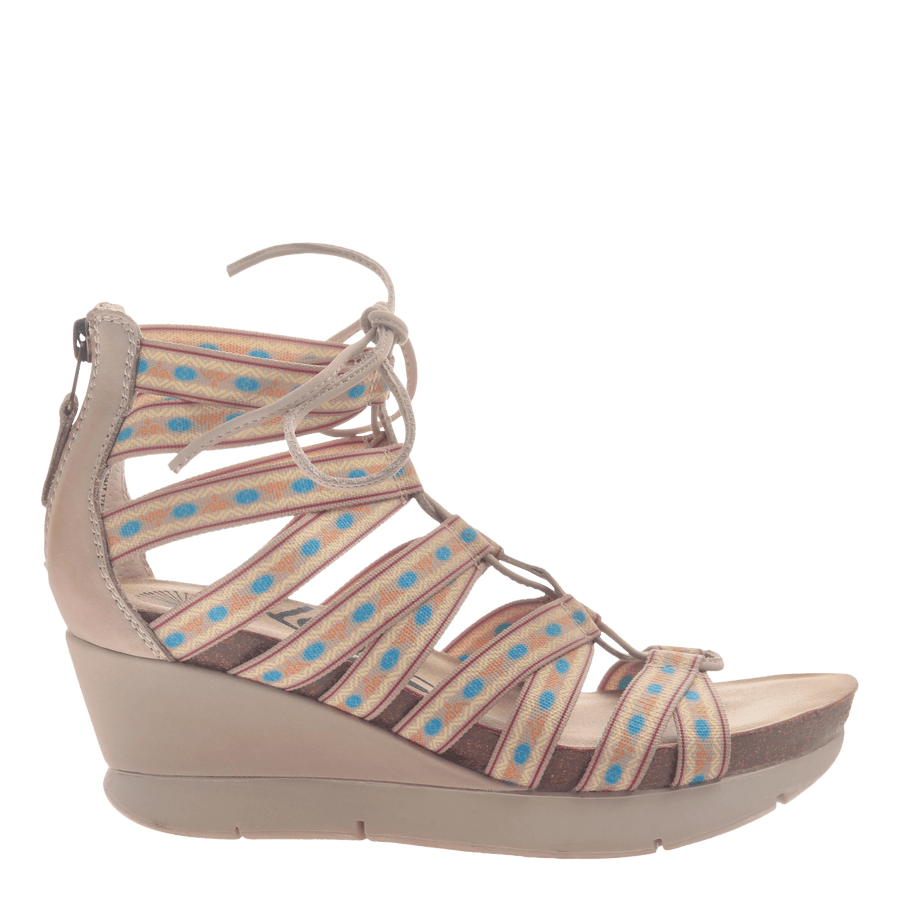 Womens lace up wedge sandal Way Out in Mid taupe