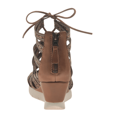 Womens lace up wedge sandal Way Out in Tobacco back view