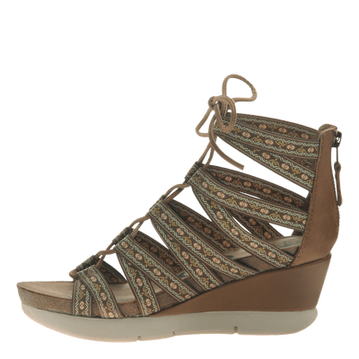 Womens lace up wedge sandal Way Out in Tobacco inside view