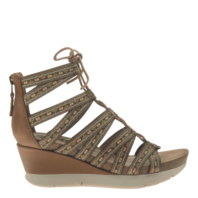 Womens lace up wedge sandal Way Out in Tobacco side view