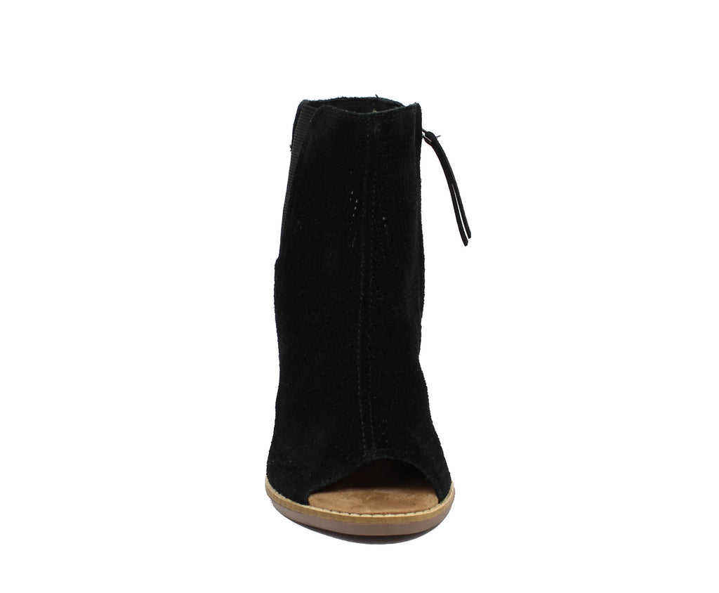 WOMEN`S BLACK SUEDE PERFORATED MAJORCA PEEP TOE
