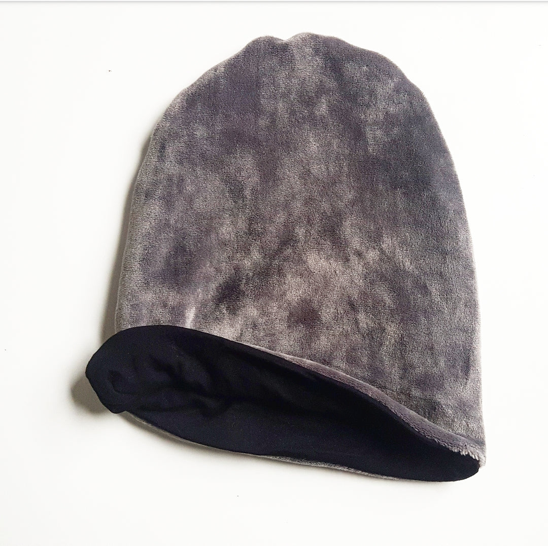 Grey Velour Reversible Beanie