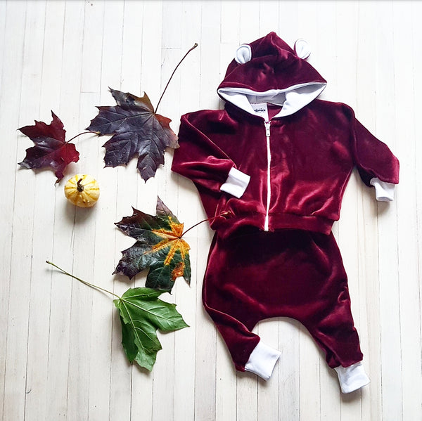 Maroon Velour Tracksuit with Ears