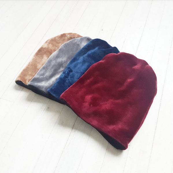 Velour Reversible Beanie - 4 different colours
