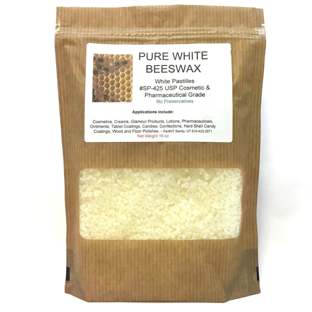 PURE White BEESWAX Pastilles 32 oz - 2 Lb SP-425 USP Cosmetic Pharmaceutical