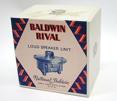 Nathaniel Baldwin Radio Speaker Driver (Empty Box) New Old Stock Salt Lake City