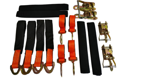 Car Trailer Tie Down | Soft Vehicle Tie down Kit with Snap Hooks