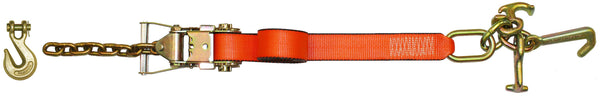 "Pro Web 2""X8' Strap with Tie Down Cluster and Grab Hook Ratchet"