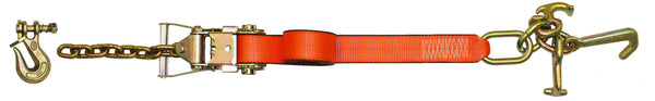 "Pro Web 2""X8' Strap with tie down cluster and ratchet with Twist Lock Grab Hook"
