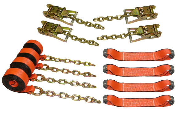 8 Point Roll Back Tie Down System w/ Chain Ends
