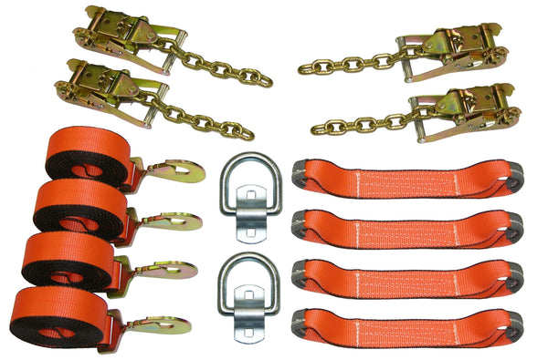 8 Point Roll Back Tie Down System with Snap Hooks and D Rings