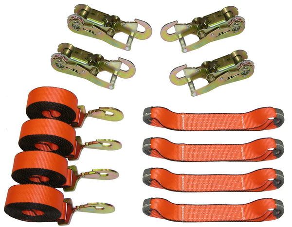 8 Point Roll Back Tie Down System with Snap Hooks and Ratchets