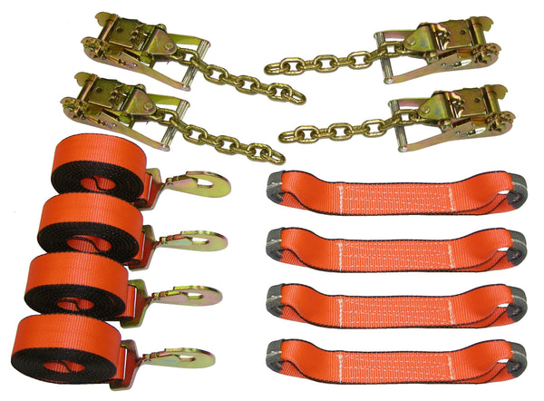 8 Point Roll Back Tie Down System with Chains and Snap Hooks