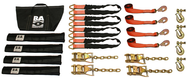 Car Trailer Tie Down | Soft Vehicle Tie down Kit with Chain and Twist Lock Grab Hooks