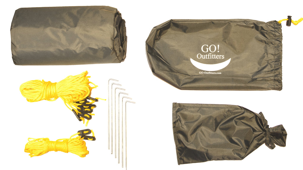 The Apex Camping Shelter comes ready to use with the included accessories. Each kit includes: 1 Apex Camping Shelter, 1 stuff sack for the whole kit, one bag for the stakes and guy ropes, two 15' guy ropes with tensioners, six 8' guy ropes with tensioners and six stakes.