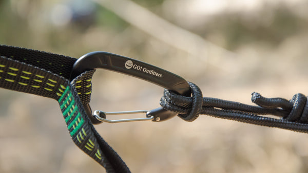 Just clip the included carabiners onto the heavy duty loops of the Quick Link Tree Straps and you're hammock is set up.