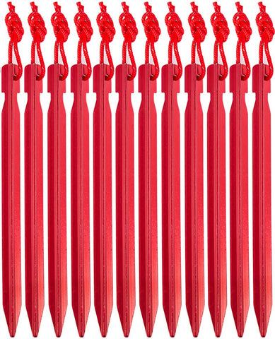 Photo of Premium Aluminum Tent Stakes. They are great for camping, ultralight hiking, hammock camping and more.