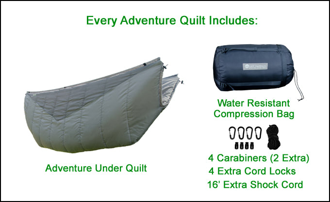 Every Adventure Quilt Includes These Standard Accessories! One Compression Bag, 4 carabiners, 16' shock cord