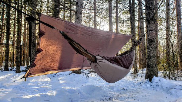 Convertible rainfly mode for hammock camping. Quickly switch the tarp from storm camping mode to convertible mode