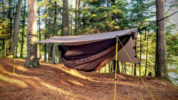 Porch mode is great for hammock camping with the Apex Camping Shelter Tarp
