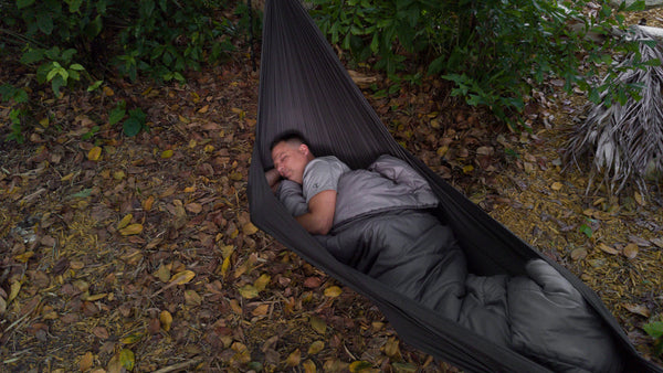 Adventurwe Top Quilt being used as a hammock camping top quilt with the Go Hammock by Go Outfitters