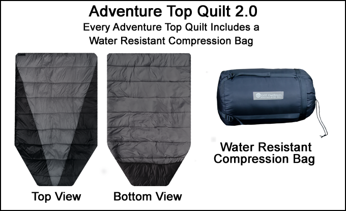 The Adventure Top Quilt Includes a Durable Water Resistant Compression Bag
