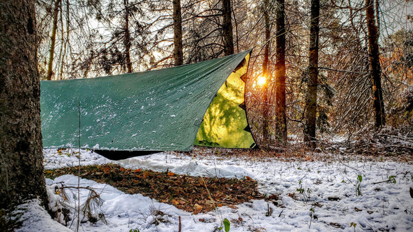 For storm mode the apex camping shelter 2.0 is staked down tigh to block rain and wind.