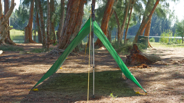 A-frame Tarp Camping Mode is great when cowboy camping under a rainfly