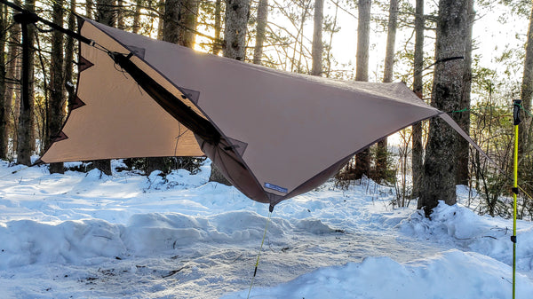 Single Pole Porch Mode is a great hammock camping mode for this waterproof tarp.