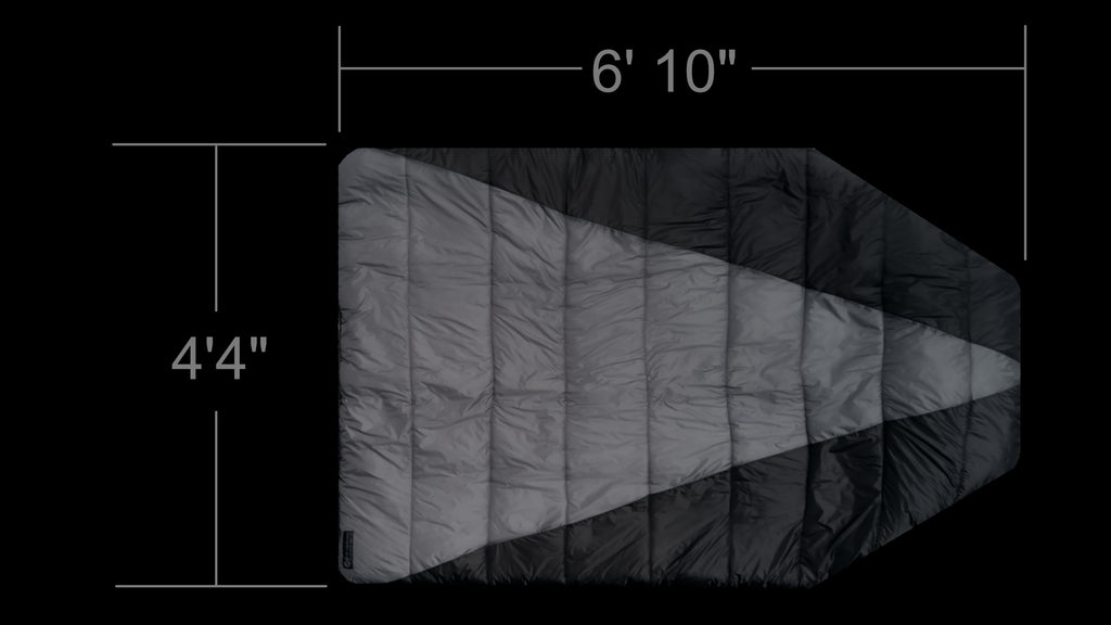 Dimensions of the Adventure Top Quilt Hammock Top Quilt and Sleeping Bag Alternative. It's oversized and more comfORTABLE THAN A SLEEPING BAG