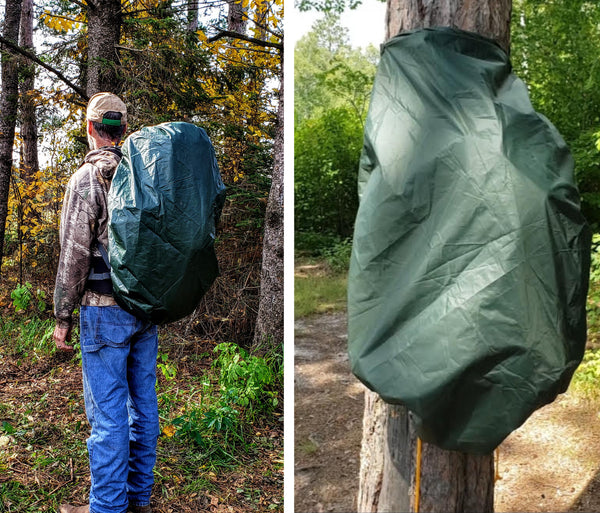 Landing Pad being used as a backpack cover while hiking. On the right, the Landing Pad protects a backpack that's hanging on a tree.