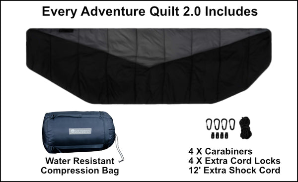 The Adventure Under Quilt 2.0 included 4 carabiners, extra cord locks and shock cord so you can adapt it to the camping hammock you already have.