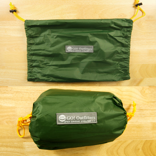 New Rapid Deployment Bag is a double ended stuff sack that makes settgin up and packing up your hamomck camping tarp a breeze