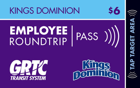 1 Kings Dominion Roundtrip EMPLOYEE Pass
