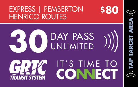 30 Day Express Route Unlimited Pass Pemberton Henrico Routes