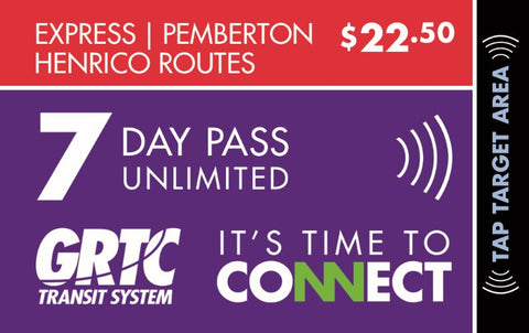 7 Day Express Route Unlimited Pass Pemberton Henrico Routes