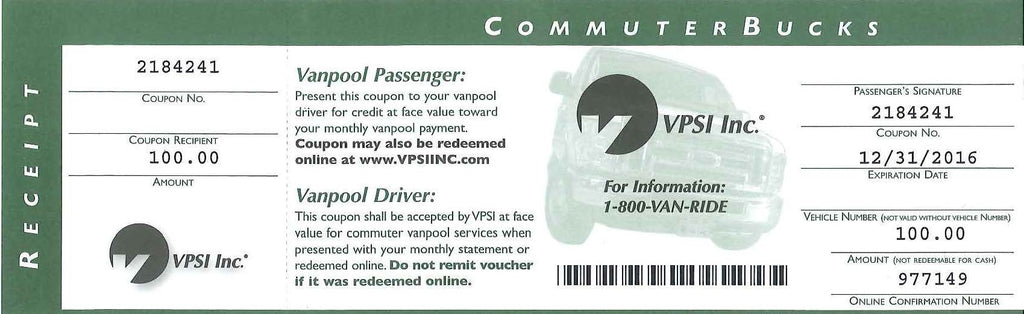 Van Pool Voucher