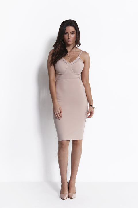 LOVE ME NOW MIDI DRESS NUDE