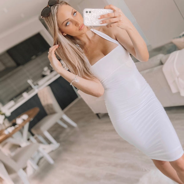 KIERA HALTER DRESS WHITE