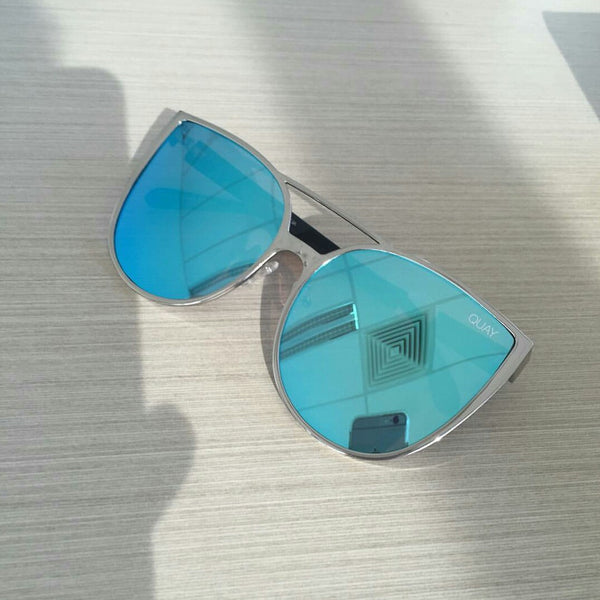 SORORITY PRINCESS SUNGLASSES SILVER/BLUE