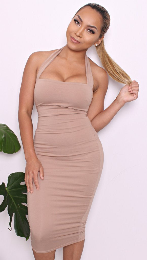 RAMELA HALTER DRESS NUDE