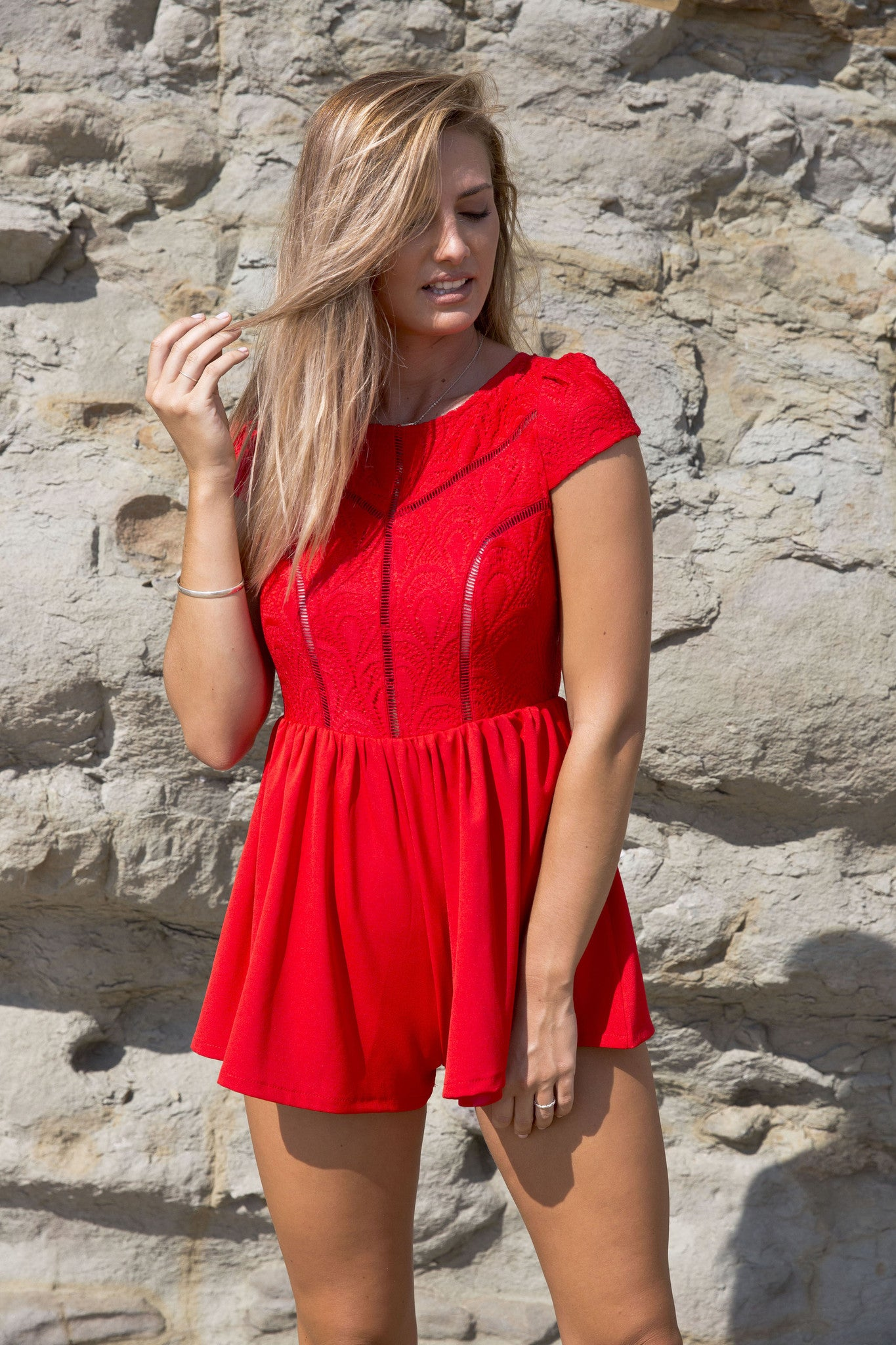 RED RAIN PLAYSUIT