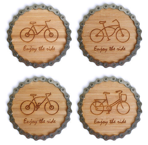 Engraved Bike Chain and Bamboo Coasters - Set of 4